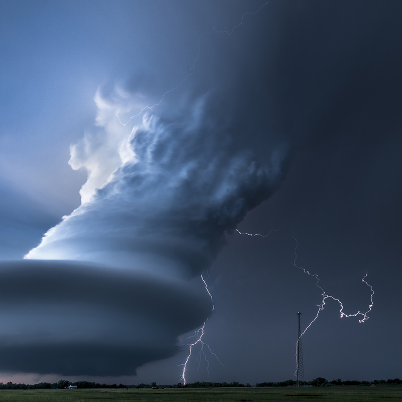 Double Lightning Bolts, Nebraska USA - Storm photography