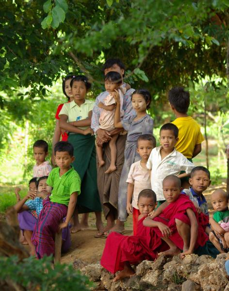 Bagan  children greet our arrival - Burma