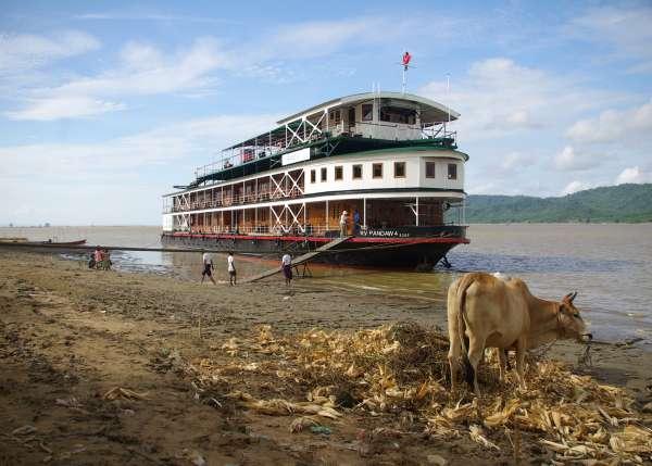 Pandaw IV moored on Irrawaddy River - Burma