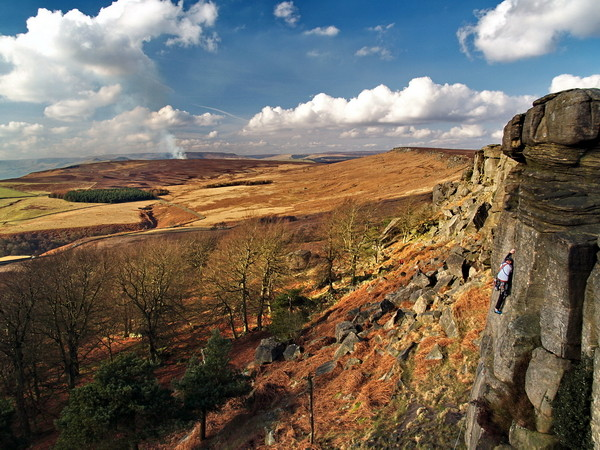 Stanage Edge (with climber), photographed by Roger Butterfield.