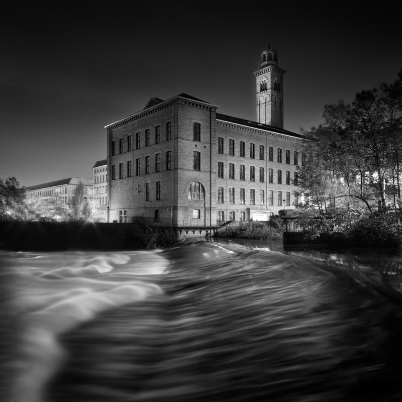 Salts Mill and Weir 2 (square format) - Night Exposures