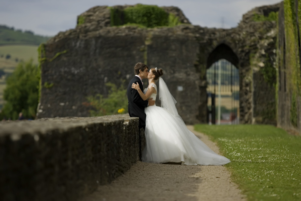 Bride and Groom at Caerphilly Castle - Wedding Photography at Caerphilly Castle