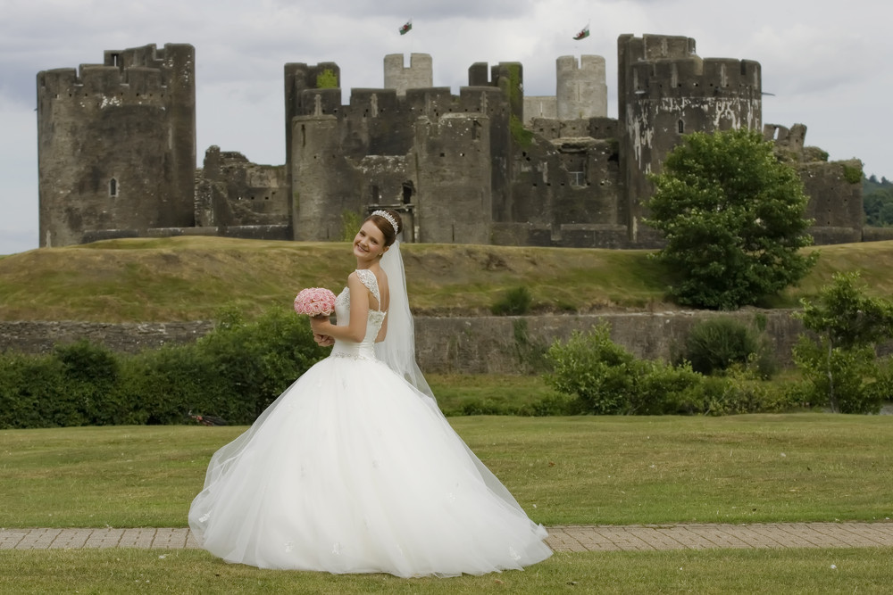 Bride at Caerphilly Castle - Wedding Photography at Caerphilly Castle